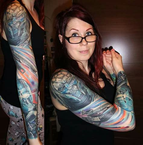naked girl tattoo mass effect sleeve amazing ink mass