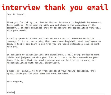 Thank You Interview Email Template Business Thank You Email Template For Business