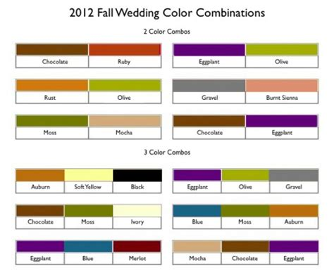 classic color combinations fall wedding colors