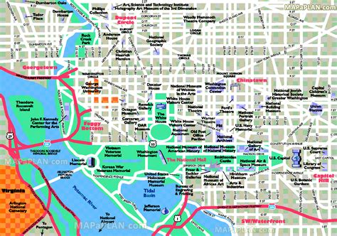washington dc map of attractions washington dc map simple overview outline directions
