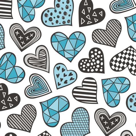 doodle blue geometric patterned hearts valentines day doodle blue