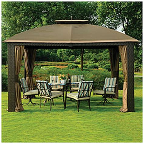 Big Lots Patio Gazebos View Wilson Fisher 174 10 X 12 Resin Wicker Riviera Gazebo Deals At Big Lots
