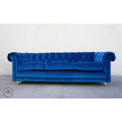 mid century chesterfield sofa teal blue velvet w custom