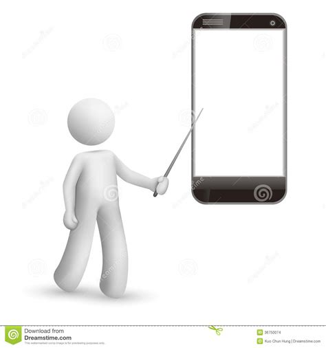 3d mobile phones 3d pointing at a mobile phone stock images image