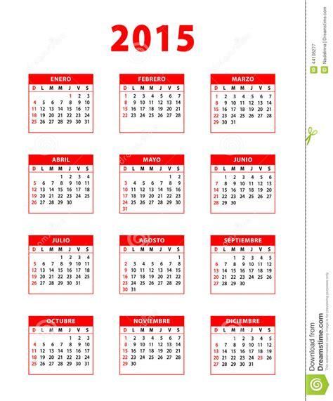 Calendario 2016 Y 2017 Español Calendario Espa 241 Ol Rojo 2015 Ilustraci 243 N Vector