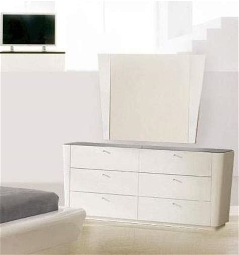 Modern White Dressers by White Lacquer Finish Dresser With Black Glass