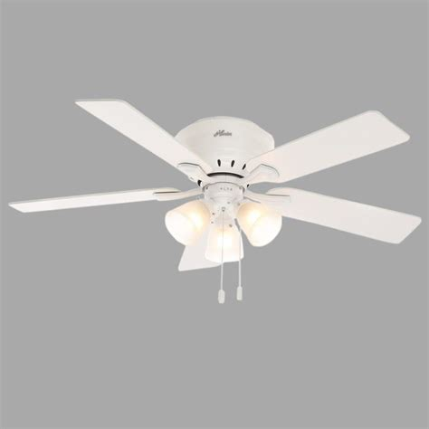 Low Profile Ceiling Fan Light Kit Reinert 52 In Indoor Low Profile White Ceiling Fan With Light Kit 53011 The Home Depot
