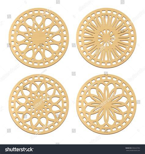 decorative geometric design laser cut wood coasters geometric decorative stock vector