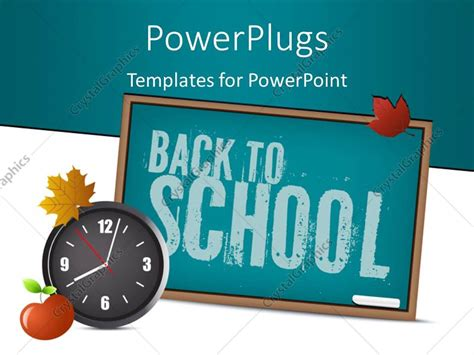 Powerpoint Template Green Chalkboard With Chalk Autumn Leaf Wall Clock And Apple 2629 Chalkboard Powerpoint Template For Mac