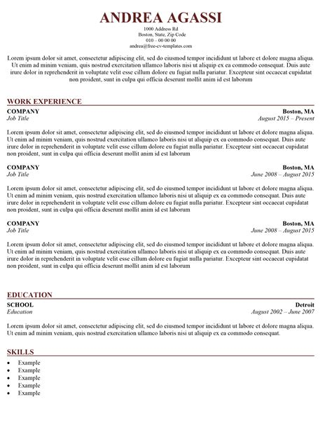 Traditional Templates traditional cv template the word template for free