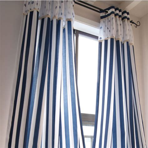 blue and white patterned curtains nautical style blue and white striped cotton linen blend