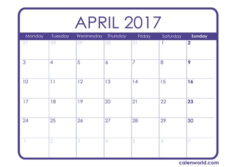 Easter 2017 Calendar April 2017 Calendar Printable Calendars