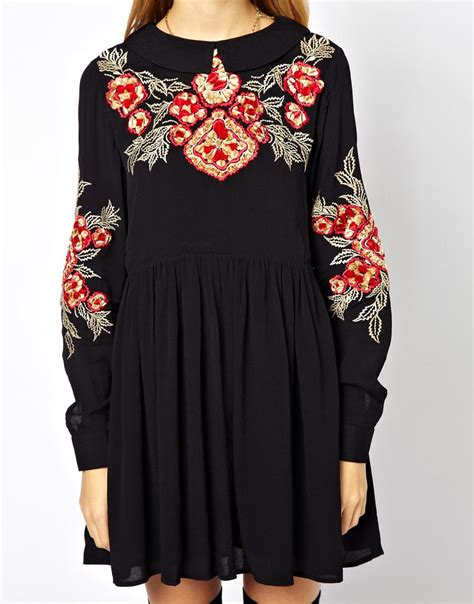 Flowers Embroidery Dress lyst asos smock dress with floral embroidery in black