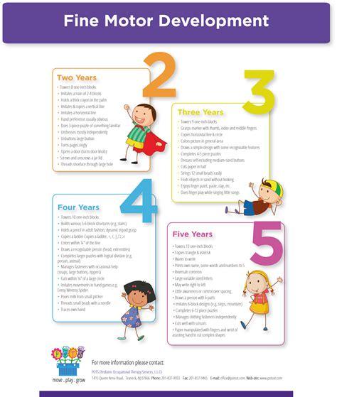 motor development activities motor development infographic from pediatric ot