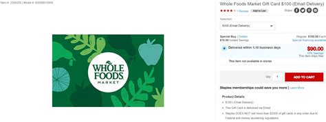 Does Whole Foods Sell Gift Cards To Other Stores - dead 100 whole foods gift card 5x at staples frequent miler