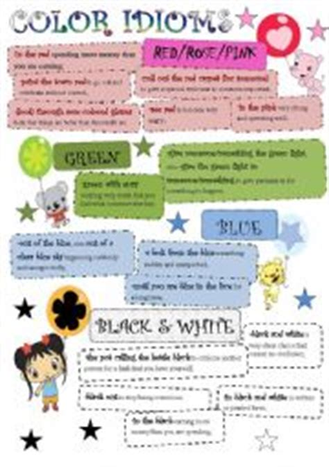 color idioms english worksheet color idioms