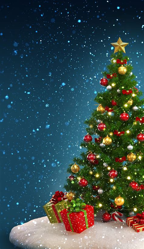 christmas tree with house wallpaper wallpaper for phones 84 images