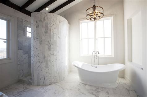living house bathrooms curved marble shower transitional bathroom southern