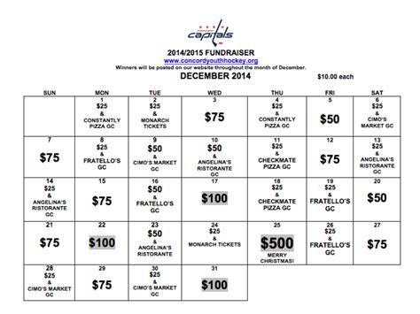 calendar raffle fundraiser template the annual 2014 cyha fundraiser calendar is back