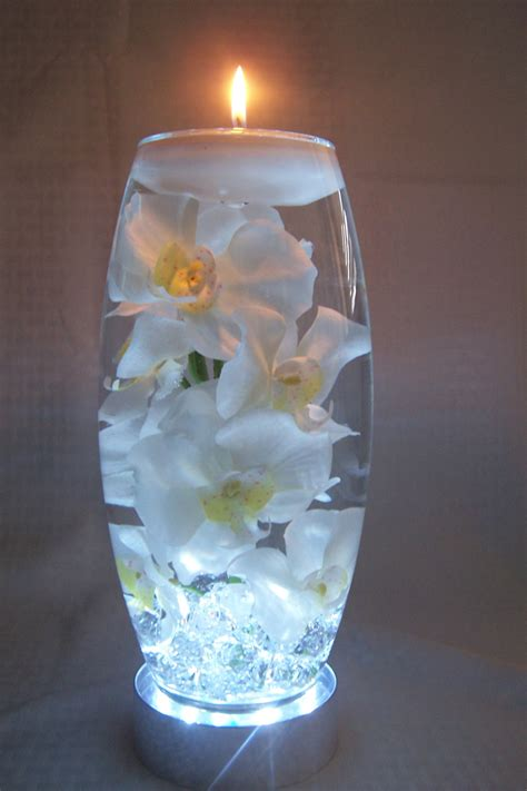 white orchids in water all in a 12 inch vase which sits on a