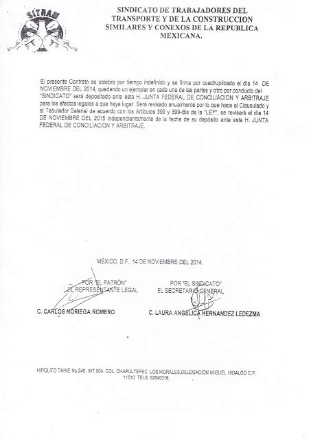 contrato colectivo de la construccion 2016 sindicatos de construcci 243 n contrato colectivo de trabajo