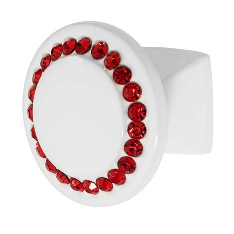 red crystal drawer pulls wisdom stone isabel 1 1 4 in white with red crystal