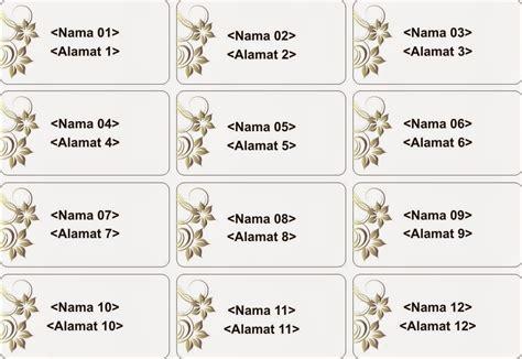 template label undangan pernikahan word ketik label nama undangan percetakan jakarta