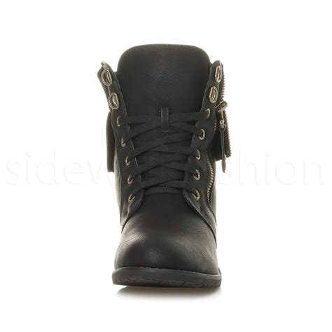 ankle boots knitted cuff womens low heel lace up knitted cuff zip combat