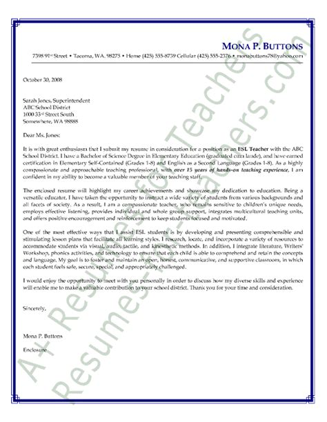 awesome collection of sample cover letter for english teacher fancy
