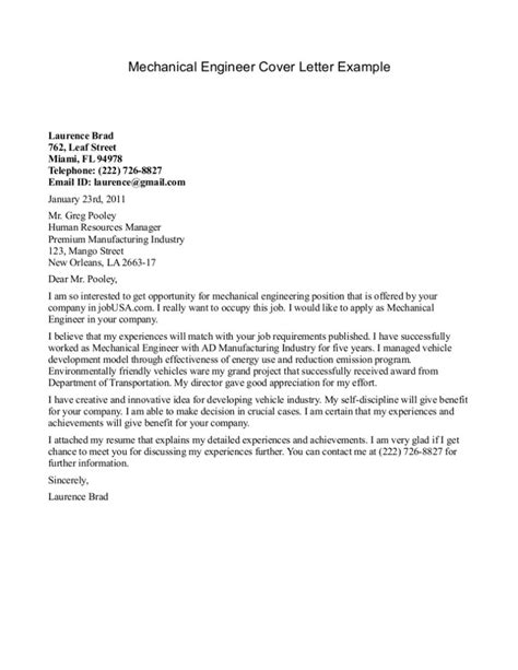 engineering cover letter template 10 sle cover letter for a mechanical engineer writing