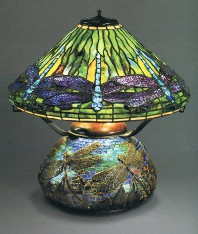 louis comfort tiffany dragonfly l dragonfly l and mosaic base original oil version