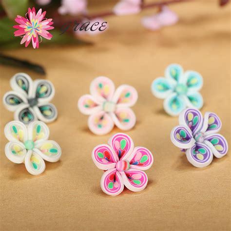 Anting Korea Acrylic Flower Shape Earrings best selling 25pcs mixed colorful plastic clay fimo small flatback flower diy korea