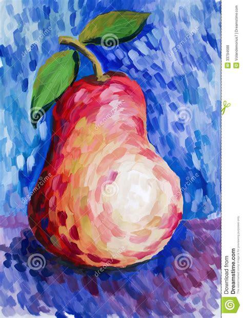 schöne gemalte bilder sch 246 ne birne gemalt mit gouache lizenzfreie stockfotos
