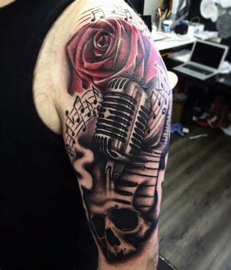 microphone flower tattoo unusual combined colored vintage microphone tattoo on