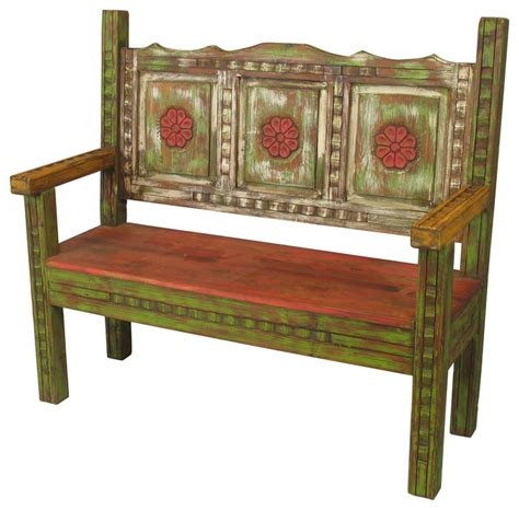 mexican bench old wood carved painted rustic bench rustic accent