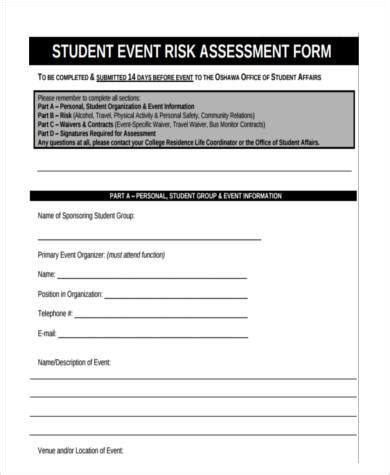 sle student risk assessment forms 9 free documents