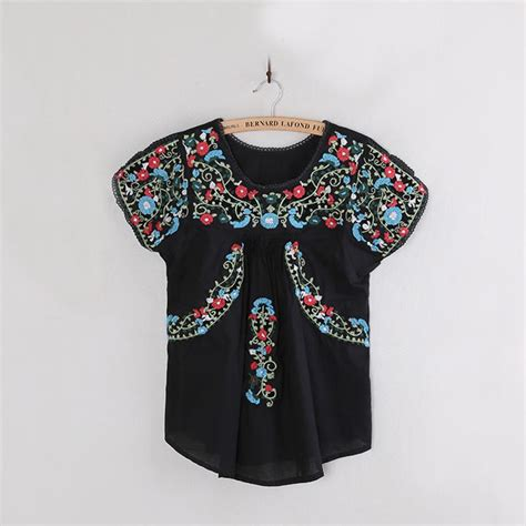 Boho Blouse Tunic Mariana vintage 70s oaxacan mexican boho floral embroidered ethnic tunic top blouse os ebay