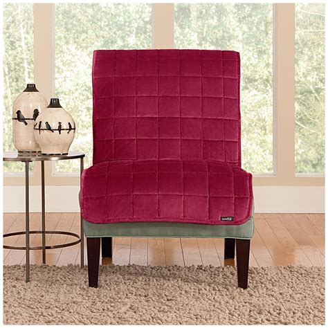 armless chair slipcover sure fit 174 quilted velvet furniture friend armless chair