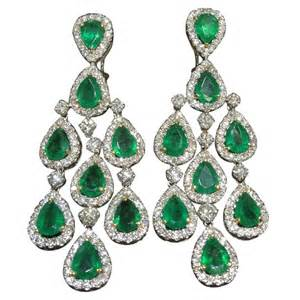 Chandelier Drops Classic Emerald And Diamond Chandelier Dangle Earrings At