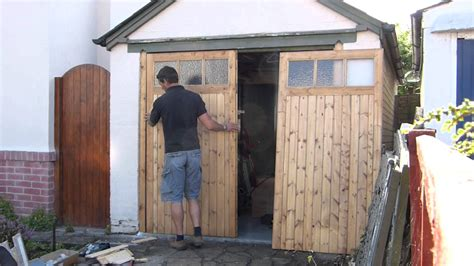 how to build swing out garage doors wooden garage door makers youtube