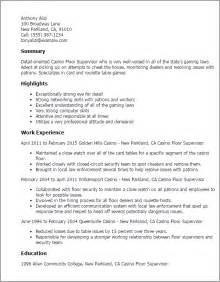 Casino Manager Sle Resume by Professional Casino Floor Supervisor Templates To Showcase Your Talent Myperfectresume