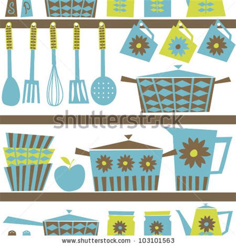 Vintage Kitchen Clipart by Seamless Pattern With Kitchen Utensils And Dishware In