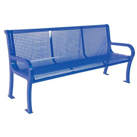 movable lighting picture of bench ultra play 6 ft perforated blue portable commercial park