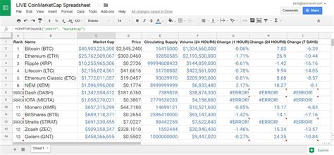 Live Spreadsheet by Live Updated Cryptocurrency Investment Tracking
