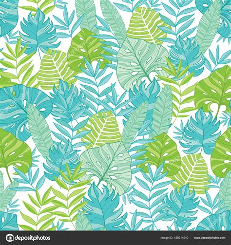 hawaii pattern photoshop vector blue green tropical leaves summer hawaiian seamless