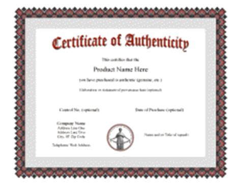 certificate of authenticity template word certificate of authenticity templates
