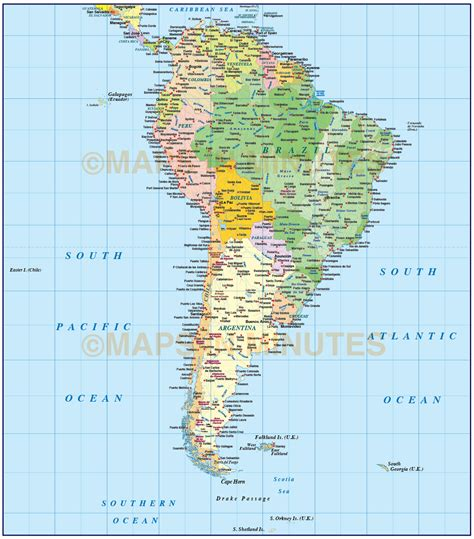 map of american oceans digital vector south america political map with sea