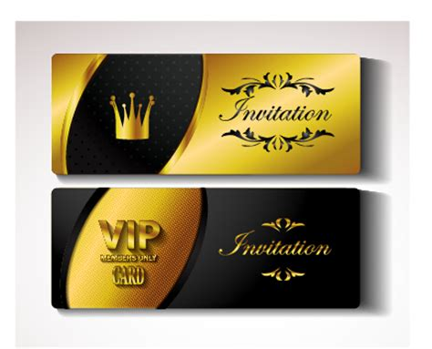 Vip Card Template Psd by Golden Vip Invitation Cards Vector Design 01 Welovesolo
