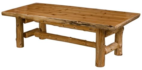 cedar log dining table w eco friendly finish rustic log