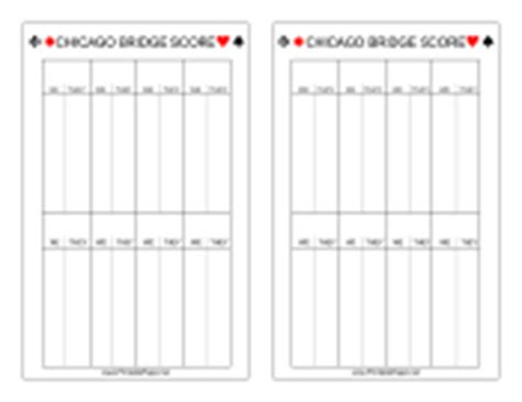chicago bridge score cards templates score sheets